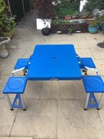 Folding picnic table and chairs - blue - very good condition