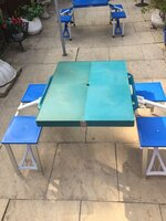 Folding picnic table and chairs - sun damaged